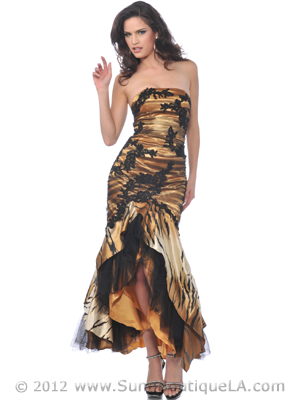 Tiger Print Lace Embroidered Overlay Evening Dress - Front Image