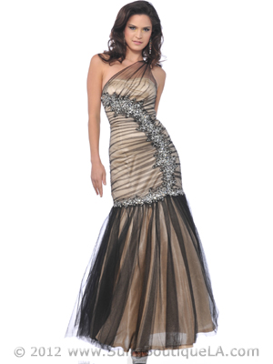 CC1801 Black Nude Lace Overlay Evening Dress with Jewel and Sequin, Black Nude