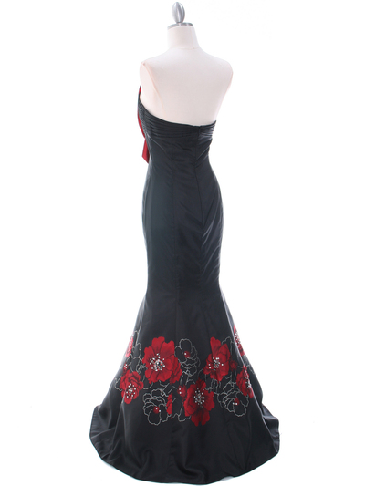 C1801 Black/Red Print Evening Dress - Print, Back View Medium