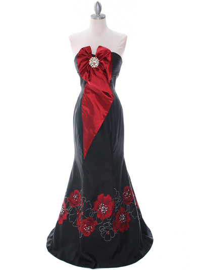 C1801 Black/Red Print Evening Dress - Print, Front View Medium