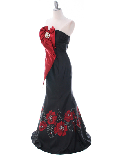 C1801 Black/Red Print Evening Dress - Print, Alt View Medium