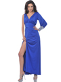 Royal Blue Single Long Sleeve Evening Dress with Slit - Front Image