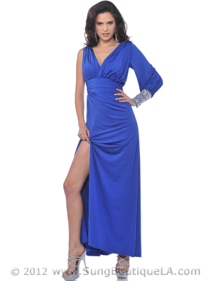 Single Long Sleeve Evening Dress with Slit - Front Image