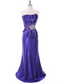 C1808 Purple Charmeuse Evening Dress - Purple, Front View Thumbnail