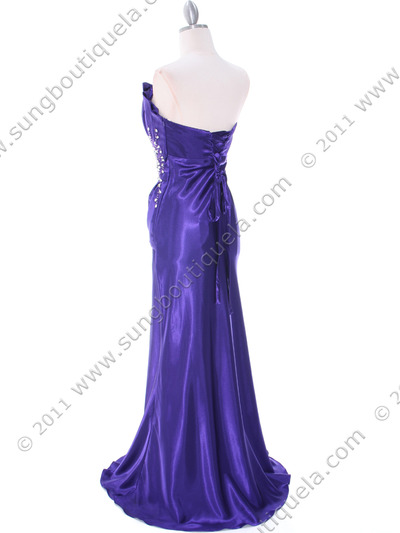 C1808 Purple Charmeuse Evening Dress - Purple, Back View Medium