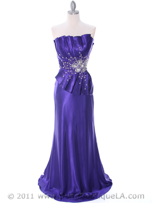 Purple Charmeuse Evening Dress - Front Image