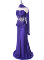 C1808 Purple Charmeuse Evening Dress - Purple, Alt View Thumbnail