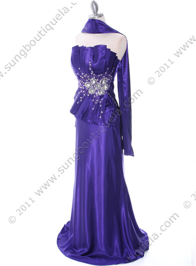 C1808 Purple Charmeuse Evening Dress - Purple, Alt View Medium