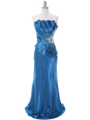 C1808 Teal Charmeuse Evening Dress, Teal