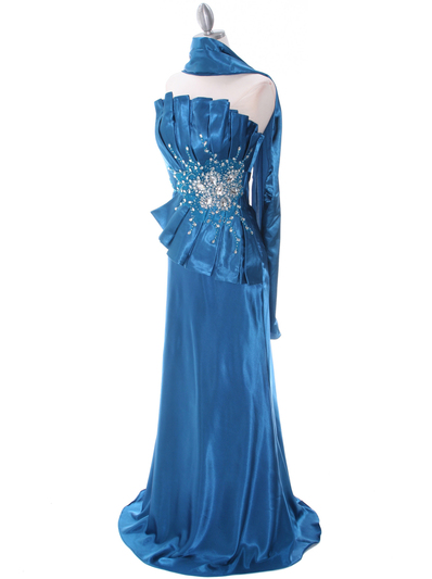 C1808 Teal Charmeuse Evening Dress - Teal, Alt View Medium