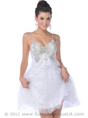 C1834 Off White Butterfly Short Prom Dress, Off White