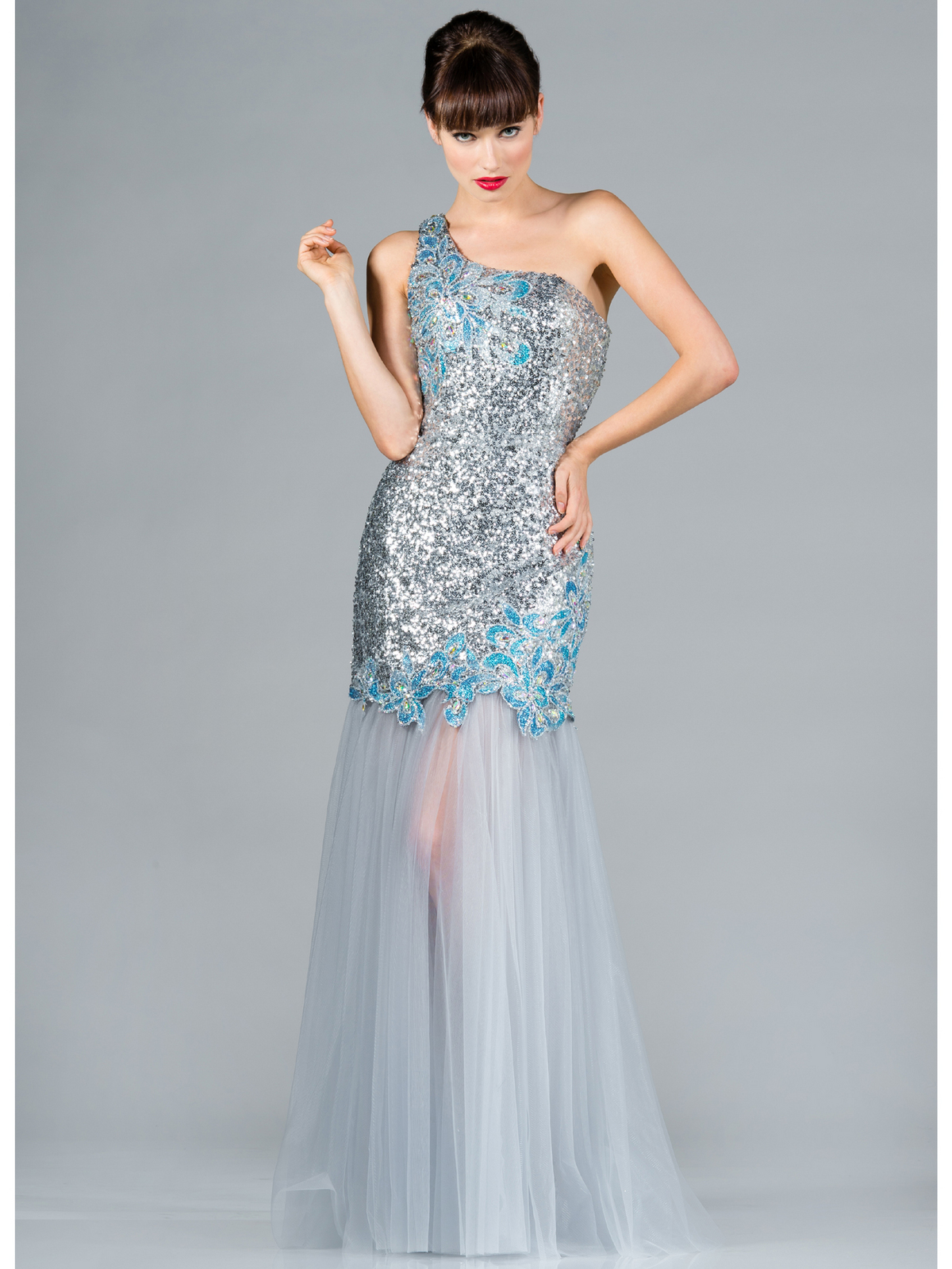 Silver and Blue Sequin Prom Dress
