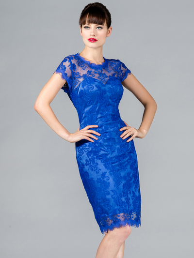 C1909 Vintage Lace Cocktail Dress - Royal Blue, Front View Medium