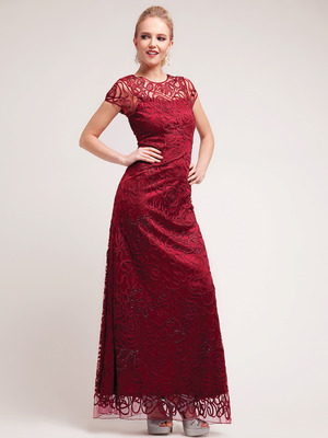 C1920 Lace Embroidery Evening Dress, Burgundy