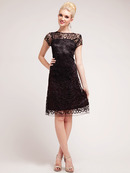 C1921 Lace Overlay Sheath Cocktail Dress, Black