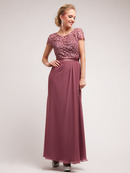 Elegant Lace and Floral Top Chiffon Evening Dress