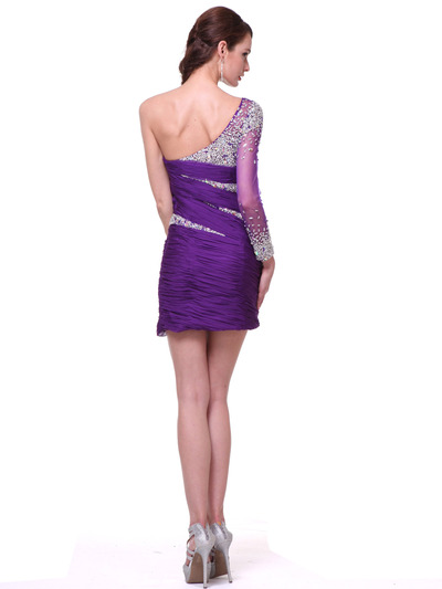 C1978 One Sleeve Beaded Cocktail Dress - Purple, Back View Medium