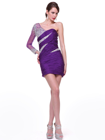 C1978 One Sleeve Beaded Cocktail Dress - Purple, Front View Medium