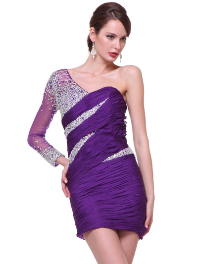 C1978 One Sleeve Beaded Cocktail Dress - Purple, Alt View Medium