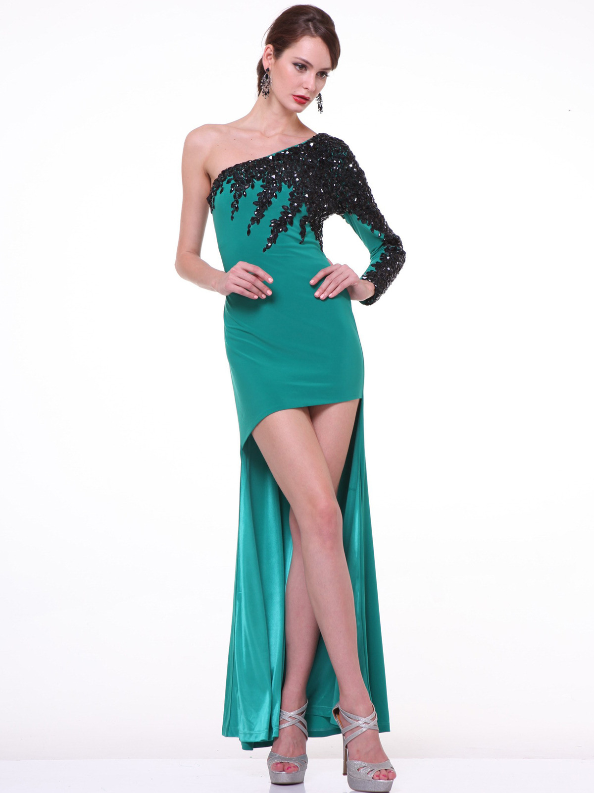 One Shoulder Embroidery High Low Evening Dress\
