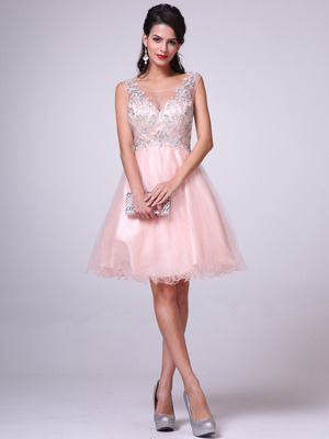 C27 Embellished Tulle Fit & Flare Homecoming Dress, Peach