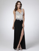 C28 Sleeveless V-Neck Evening Dress with Slit, Black