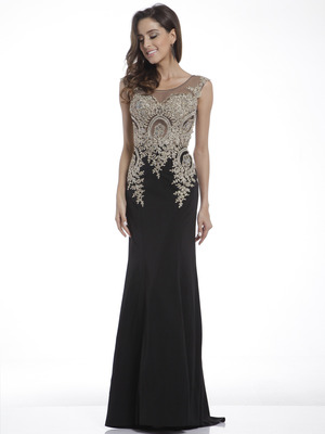 C35 Cap Sleeves Embellished Long Evening Dress, Black