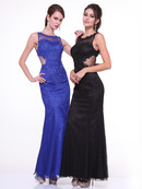 C390L Sleeveless Lace Overlay Evening Dress , Royal