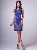 C390S Lace Body-Con Cocktail Dress, Royal
