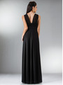 C3914 Empire Waist Mesh Overlay Top Evening Dress - Black, Back View Thumbnail