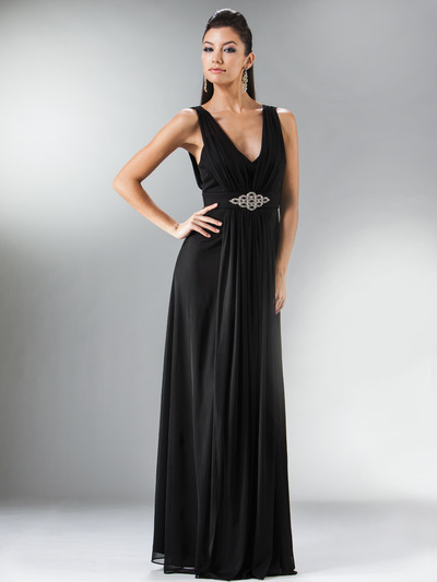C3914 Empire Waist Mesh Overlay Top Evening Dress - Black, Front View Medium