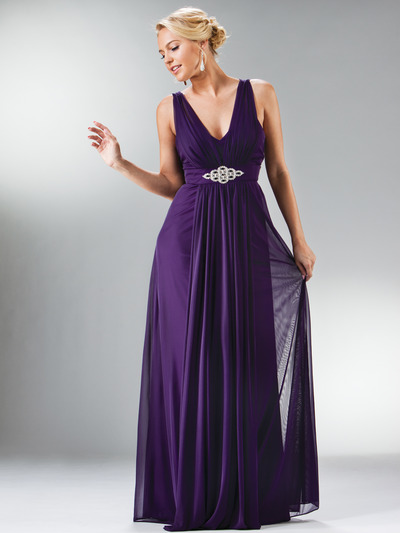 C3914 Empire Waist Mesh Overlay Top Evening Dress - Eggplant, Front View Medium