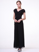 C3974 Wide Shoulder Evening Dress, Black
