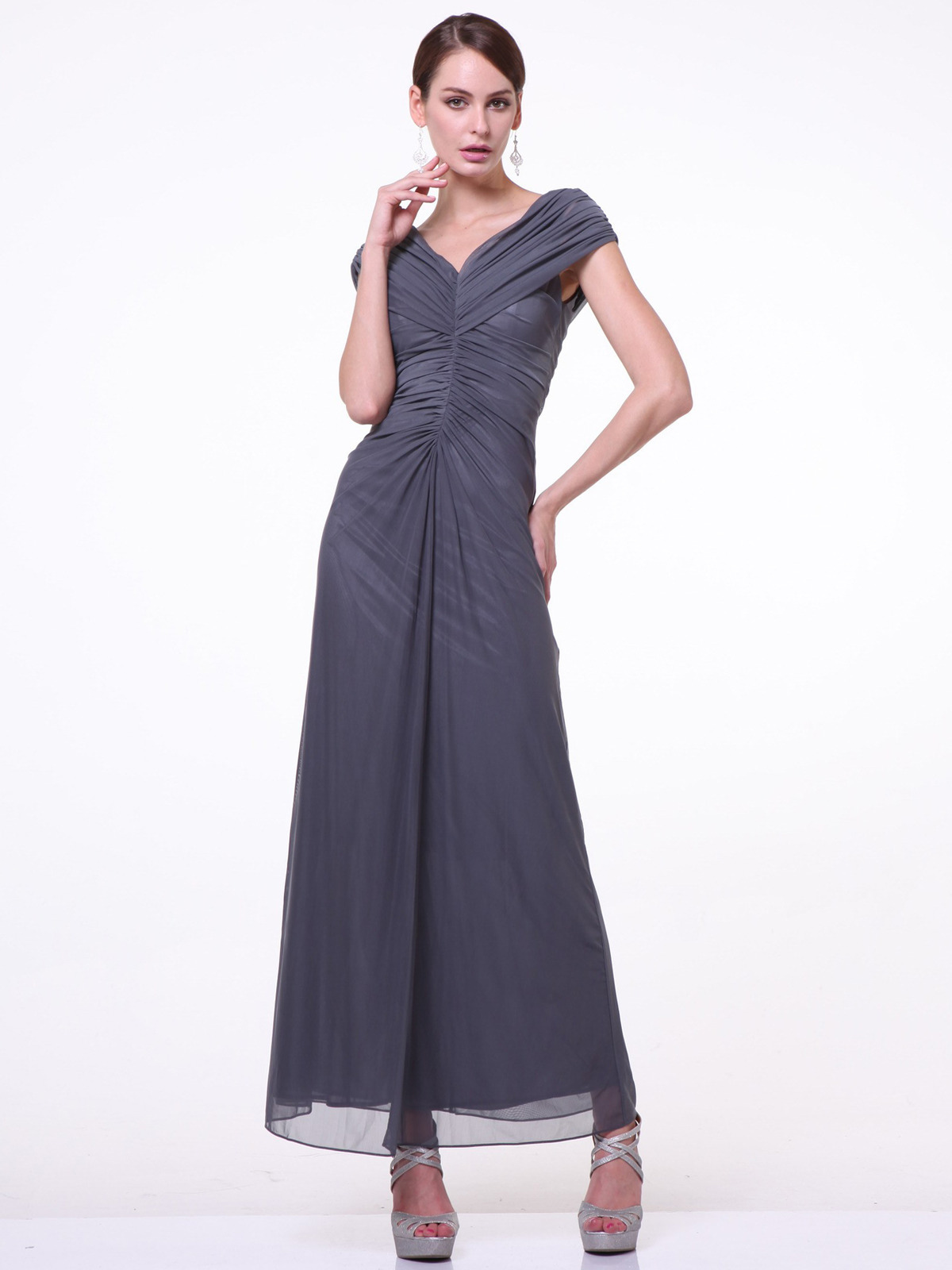C3974 Wide Shoulder Evening Dress Charcoal Front View Medium