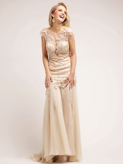C5309 Champagne Vintage Lace Evening Dress - Champagne, Front View Medium