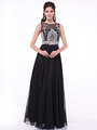 C56 Illusion Bodice Evening Dress - Black, Front View Thumbnail