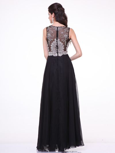 C56 Illusion Bodice Evening Dress - Black, Back View Medium