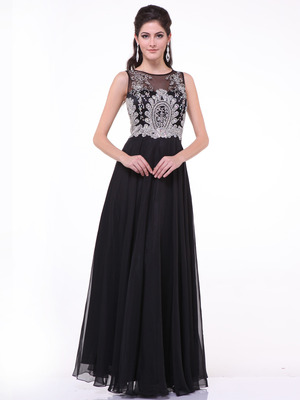 C56 Illusion Bodice Evening Dress, Peach
