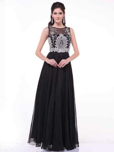 C56 Illusion Bodice Evening Dress - Black, Front View Medium