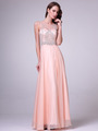 C56 Illusion Bodice Evening Dress - Peach, Front View Thumbnail