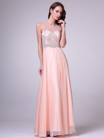 C56 Illusion Bodice Evening Dress - Peach, Front View Medium