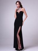 C5701 Jewel Neck Evening Dress, Black