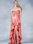Coral Satin High Low Prom Dress