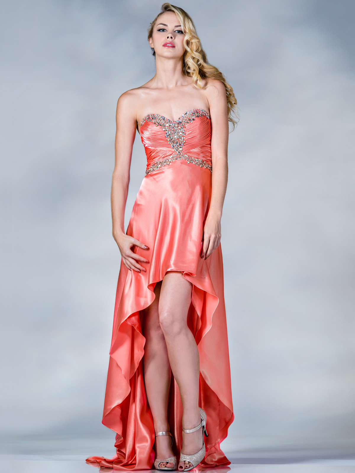 Coral Satin High Low Prom Dress | Sung Boutique L.A.
