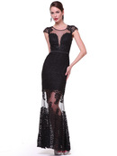 C6007 Embroidery Cap Sleeve Evening Dress, Black