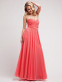 C7455 Strapless Sweetheart Prom Dress with Ribbon - Coral, Front View Thumbnail