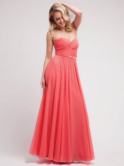 C7455 Strapless Sweetheart Prom Dress with Ribbon - Coral, Front View Medium