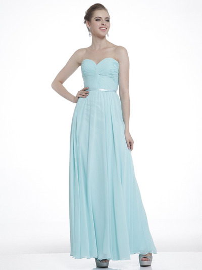 C7455 Strapless Sweetheart Prom Dress with Ribbon - Mint, Front View Medium