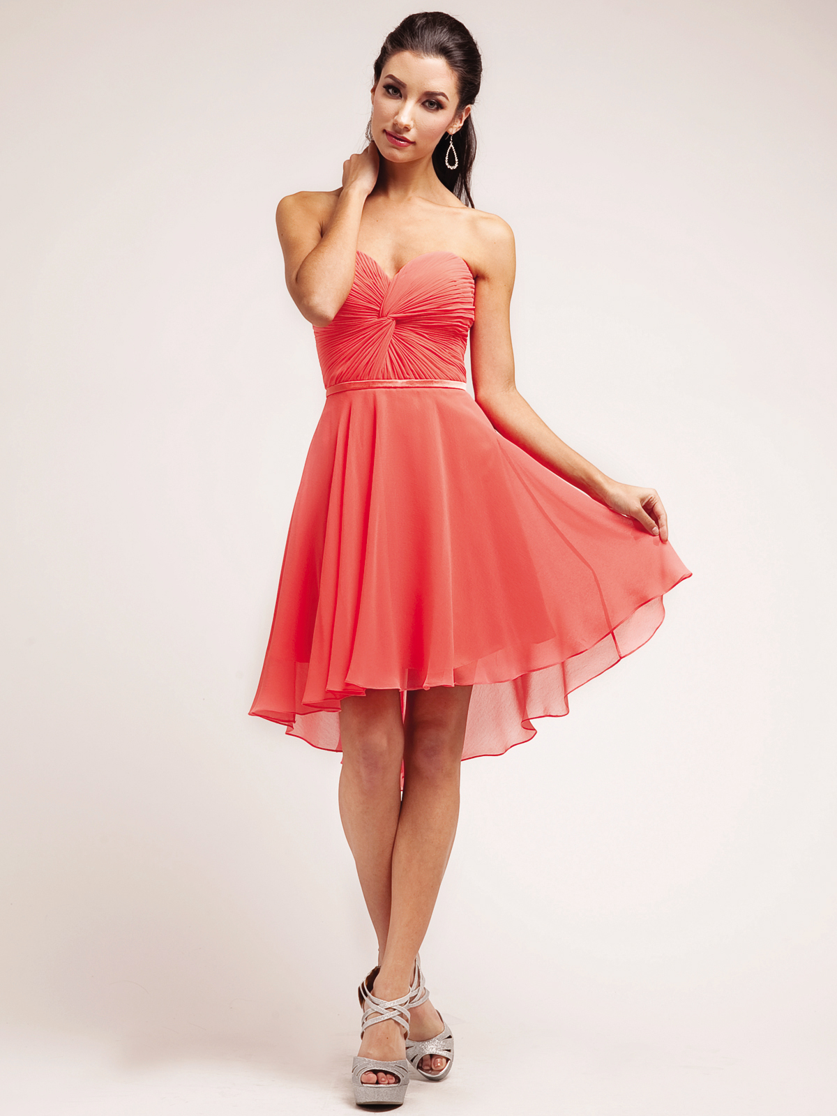 Strapless Sweetheart Chiffon Cocktail Dress