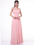 C7461 Pleated Bodice Bridesmaid Dress, Blush